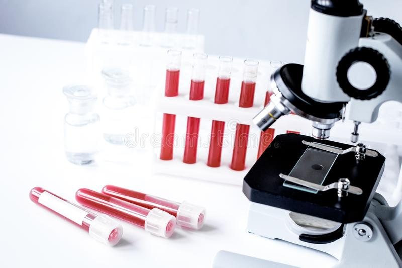 Medical equipment blood test in laboratory no one. On white background royalty free stock photo