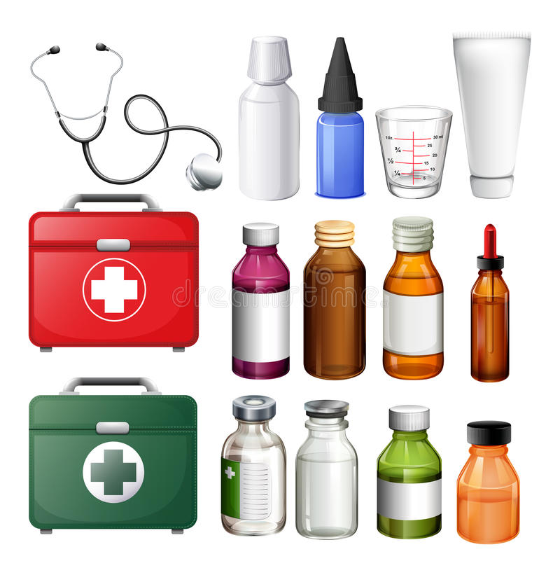 Medical equipment and containers. Illustration vector illustration