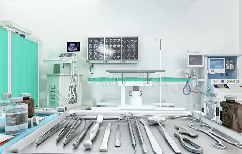 Medical equipment, devices in modern operating room. 3D illustration. Medical equipment, surgical instruments and devices in modern operating room. 3D vector illustration