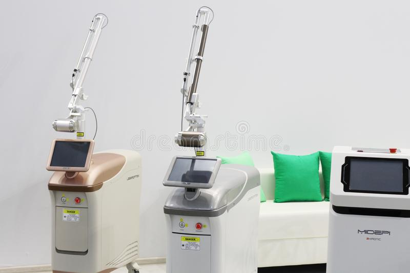 Medical equipment and equipment for beauty salons. Moscow, RF, 19.04.2019. Medical equipment and equipment for beauty salons. Laser systems and devices for royalty free stock photos