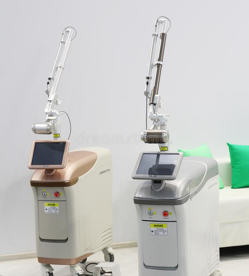 Medical equipment and equipment for beauty salons. Moscow, RF, 19.04.2019. Medical equipment and equipment for beauty salons. Laser systems and devices for stock photos