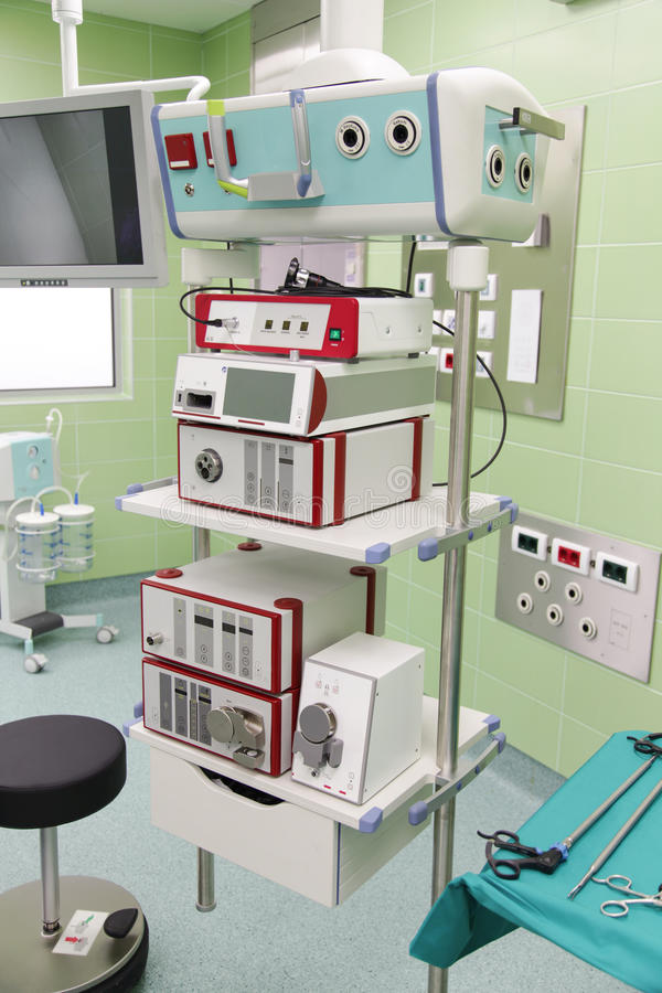 Medical equipment. Group of medical equipment in surgical room royalty free stock photography