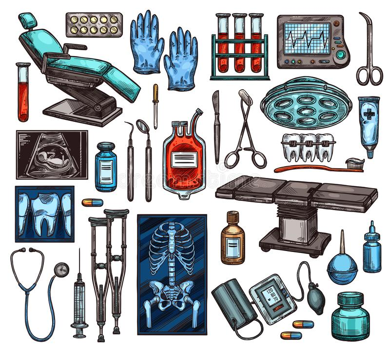 Medical equipment and surgery items, vector. Medical equipment of hospital. Vector examination chair and gloves, blood in flasks and monitor with heartbeat vector illustration