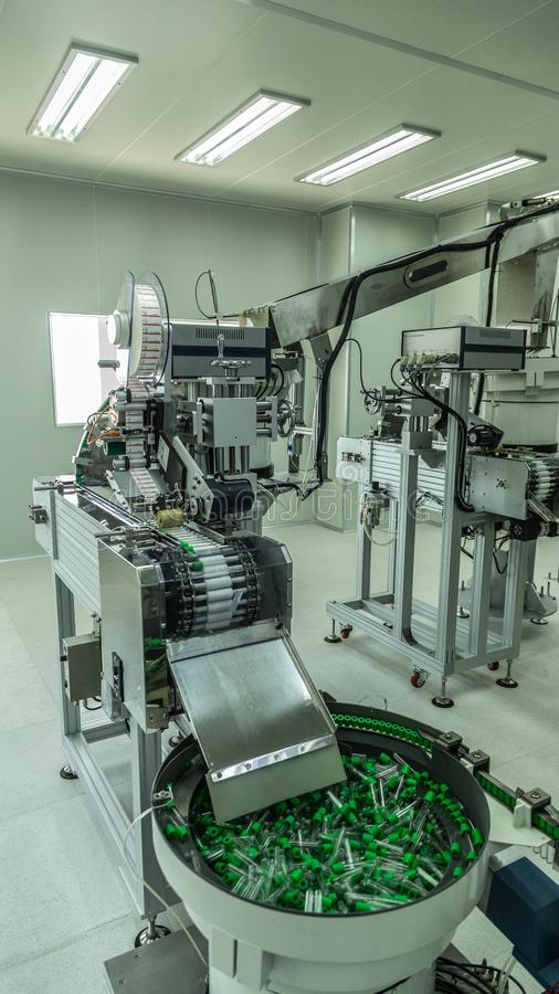 Medical equipment. Mass produce - needles stock photo
