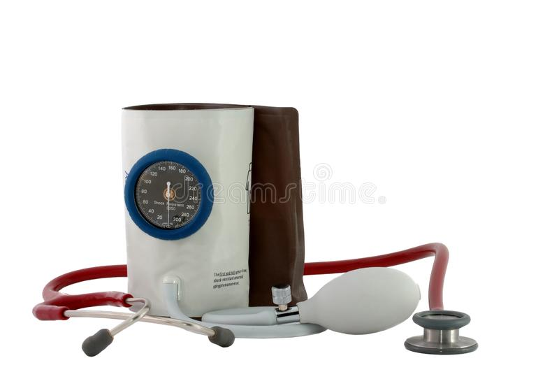 Medical equipment - Pressure gauge. With stethoscope on white background stock image