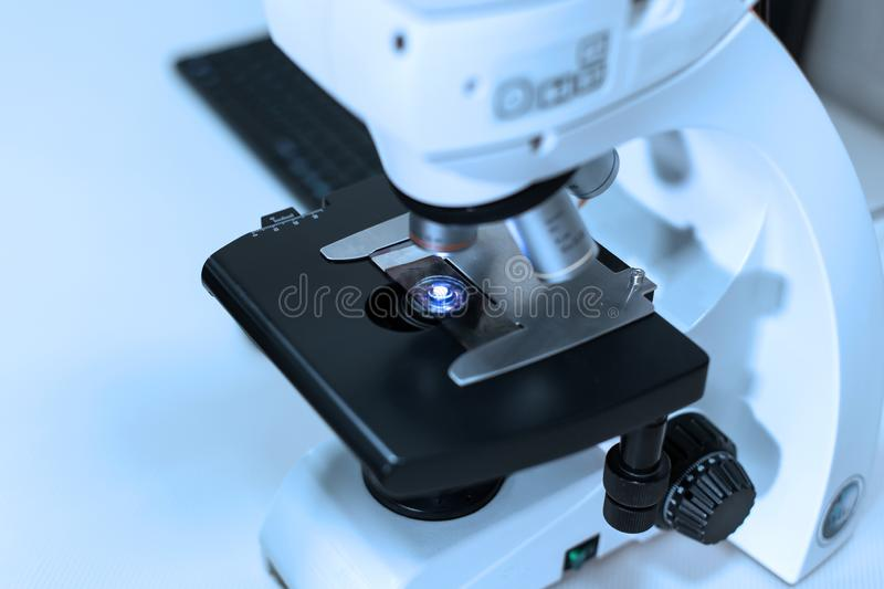 Medical equipment. Scientific professional microscope for blood testing royalty free stock images