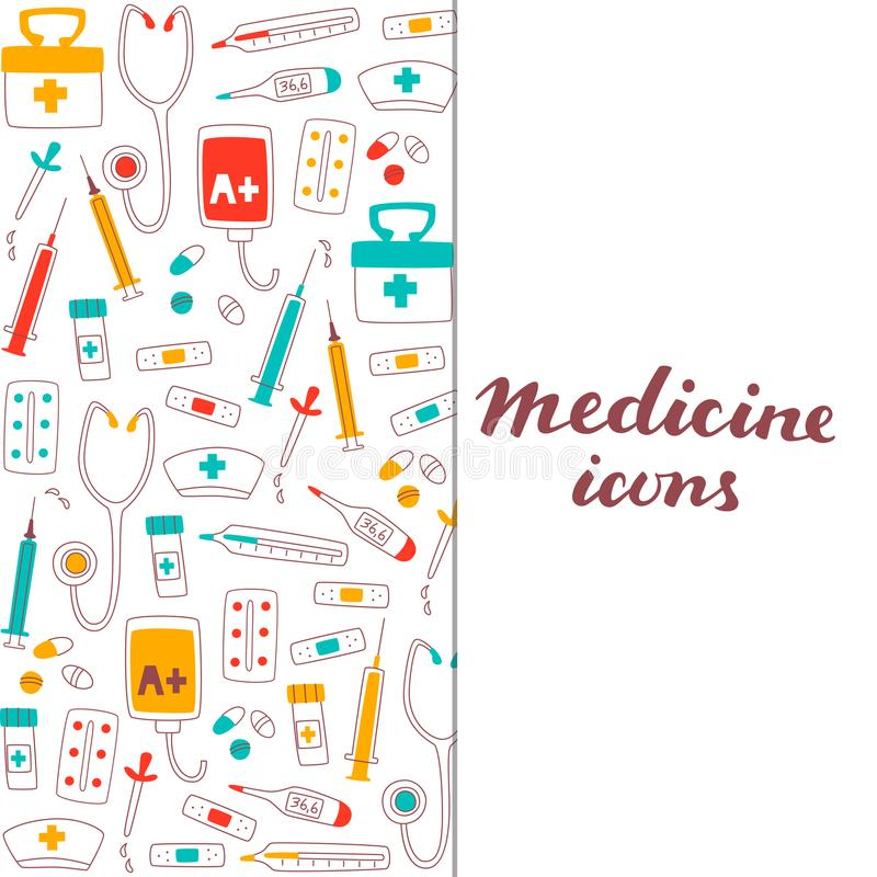 Healthcare and Medicine Set of Hand Drawn Doodle Items. royalty free illustration