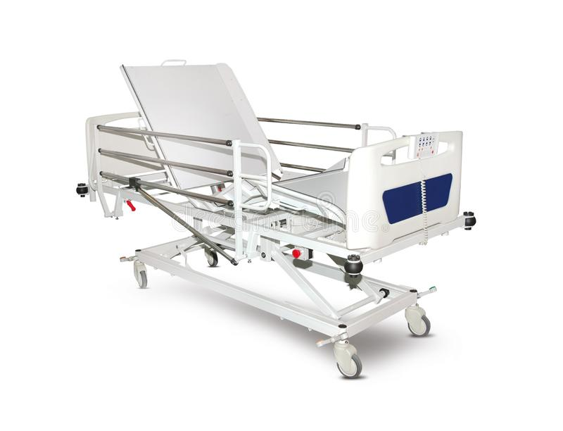 Mobile Hospital Bed under the white background. Medical Equipment. Technology of medical and hospital services. image for background, objects, copy space royalty free illustration