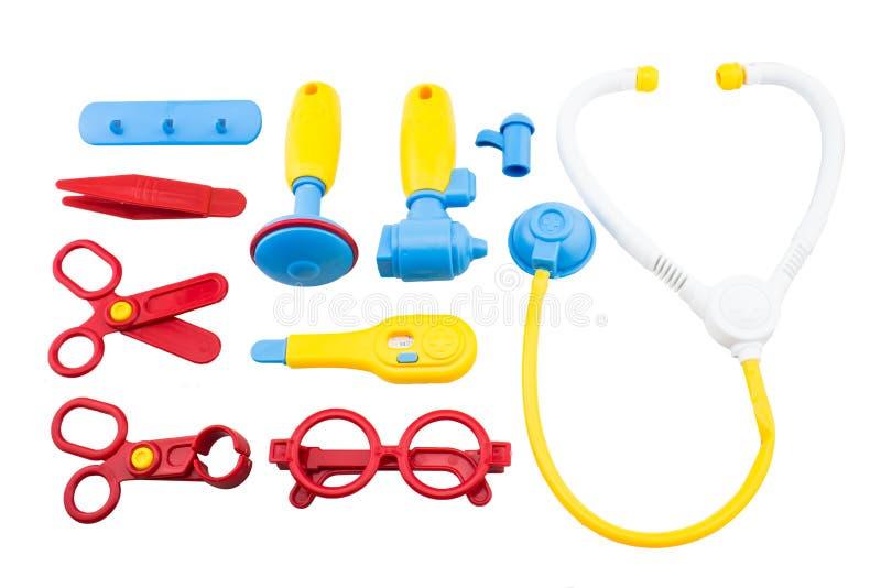 Medical equipment tool set toys. Kid toys medical equipment tool set stock image