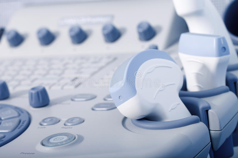 Medical equipment, ultrasound machine closeup. A medical equipment background, close-up ultrasound machine stock photo