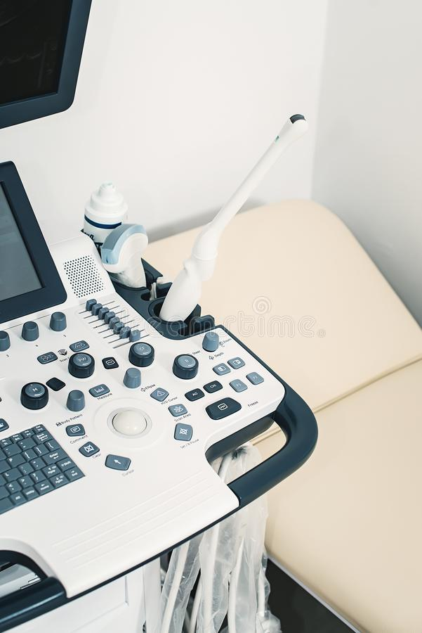 Medical equipments for ultrasonic diagnostics in a clinic. Interior of hospital room with ultrasonic apparatus stock images