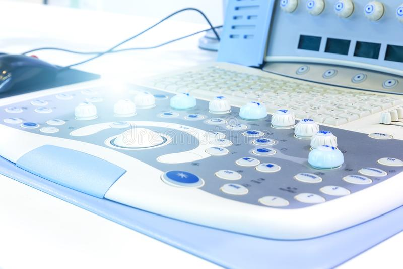 Medical equipments for ultrasonic diagnostics in a clinic room. Modern ultrasound apparatus close-up in a hospital. The. Medical equipments for ultrasonic royalty free stock photo