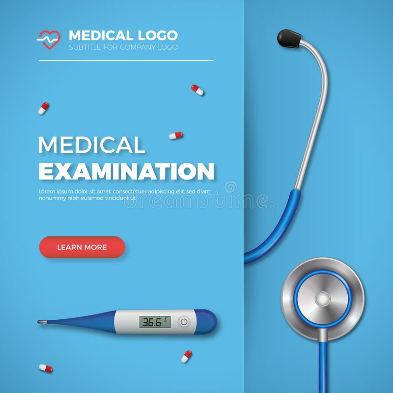 Medical Examination card. Healthcare banner with medical tools and logo on blue background. stock illustration