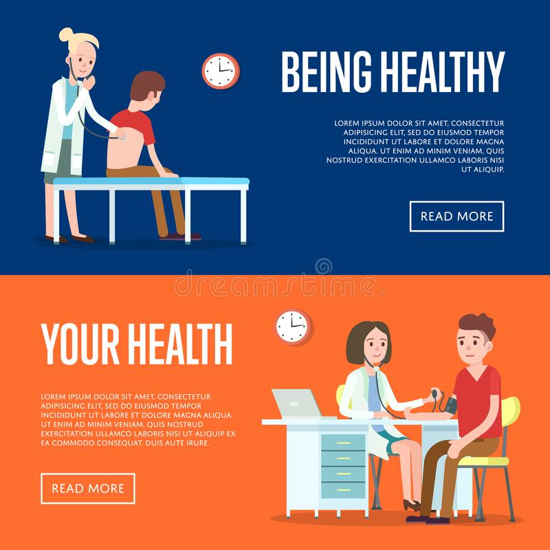 Medical examination and healthcare posters. Modern clinical analysis and patient treatment, hospital procedure, medical diagnostic tests banner. Doctor visit royalty free illustration