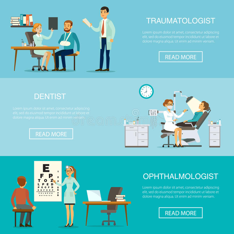 Medical Examination Horizontal Banners. With patients visiting traumatologist dentist ophthalmologist doctors for health checking and diagnostic vector stock illustration