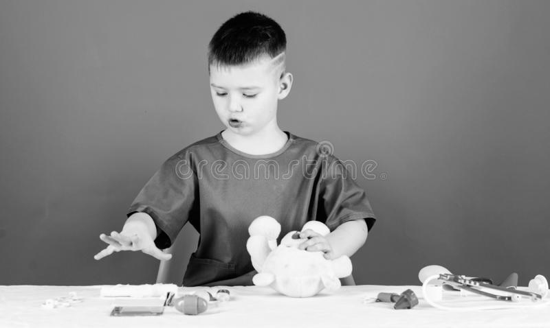 Medical examination. Medicine concept. Medical procedures for teddy bear. Boy cute child future doctor career. Hospital. Worker. Health care. Kid little doctor stock images