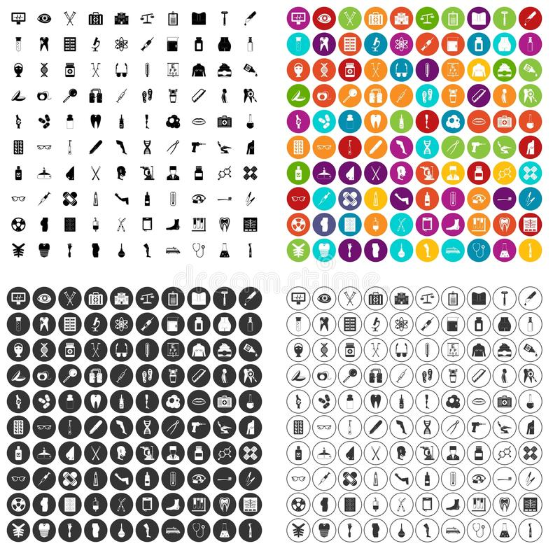 100 medical exhibition icons set vector variant royalty free illustration