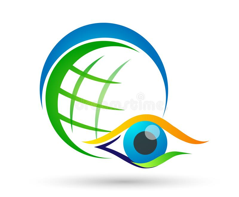 Medical eye care globe family health concept logo icon element sign on white background. In ai10 illustrations vector illustration