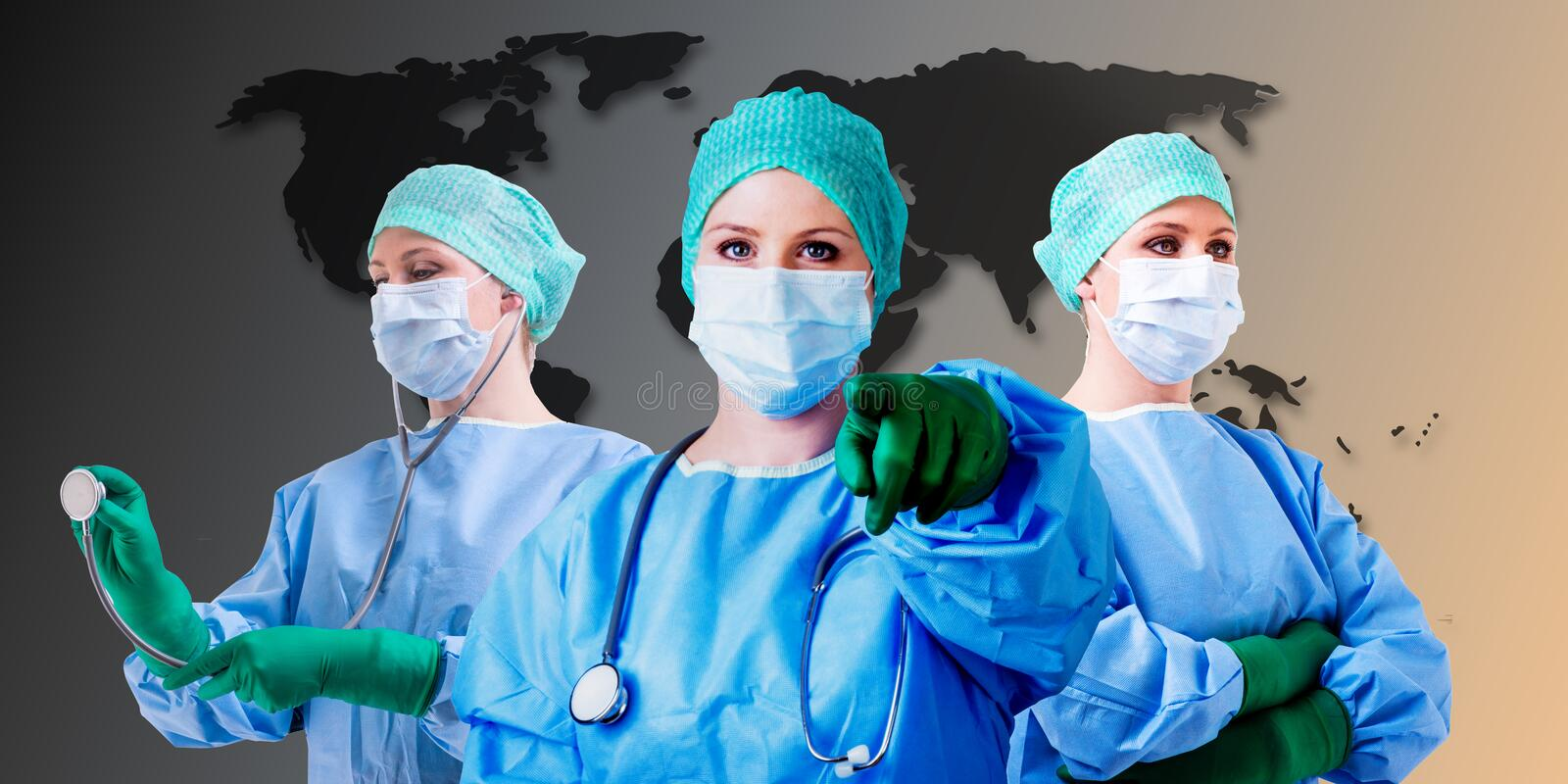 Medical female doctor world map. Female medical docotr background is a world map stock photo
