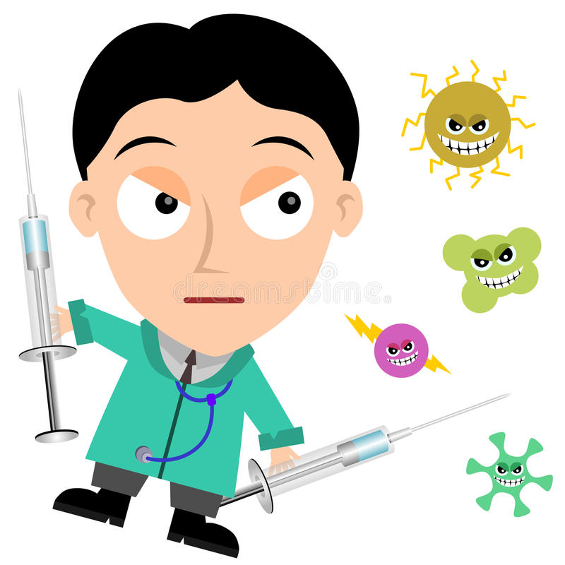 Medical fight. A medical doctor is about to fight some viruses vector illustration