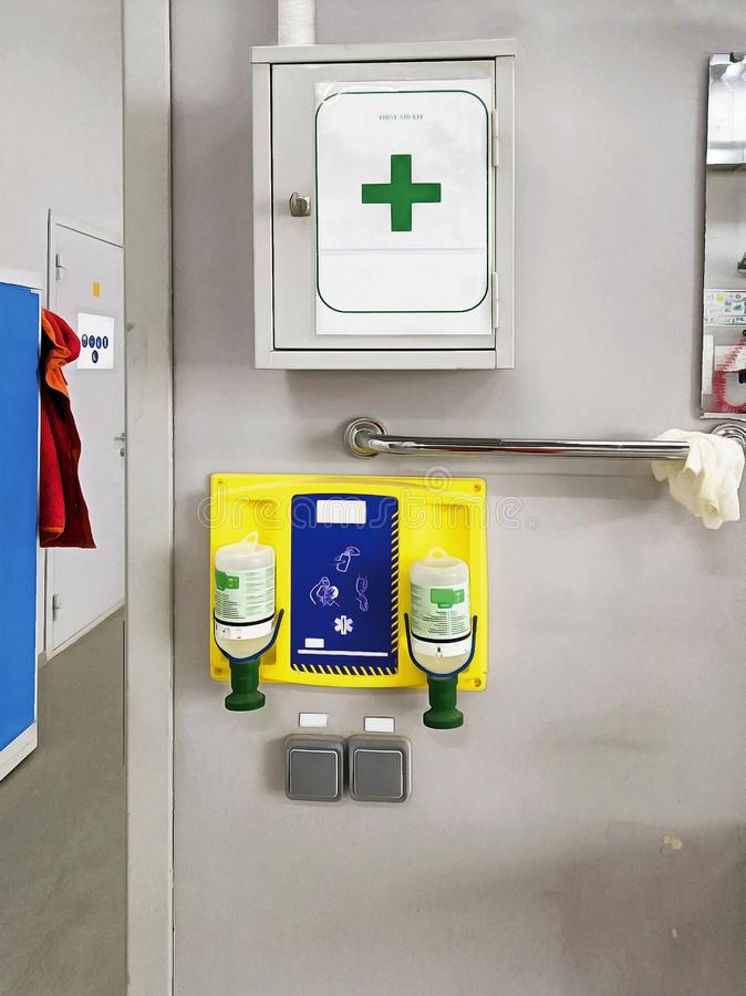 Medical first aid kit on the wall royalty free stock images
