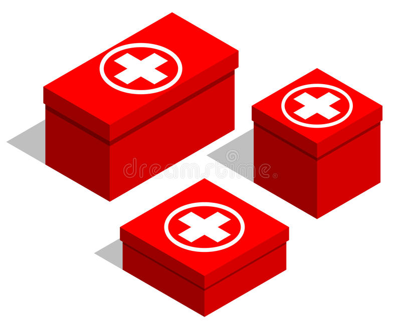 Medical first-aid kits. Set of red boxes with a medical symbol on the lid. Isolated objects on white background stock illustration
