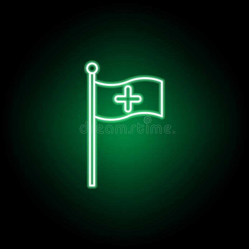 Medical, flag icon in neon style. Element of medicine illustration. Signs and symbols icon can be used for web, logo, mobile app,. UI, UX on black background vector illustration