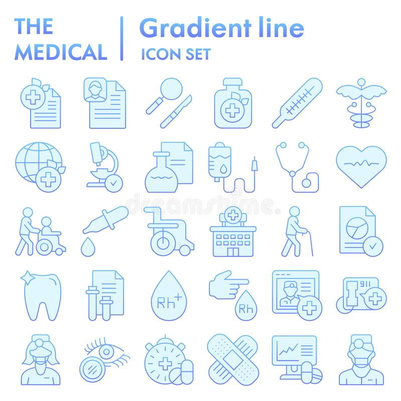 Medical flat icon set, healthcare symbols collection, vector sketches, logo illustrations, pharmacy signs blue gradient. Pictograms package isolated on white vector illustration