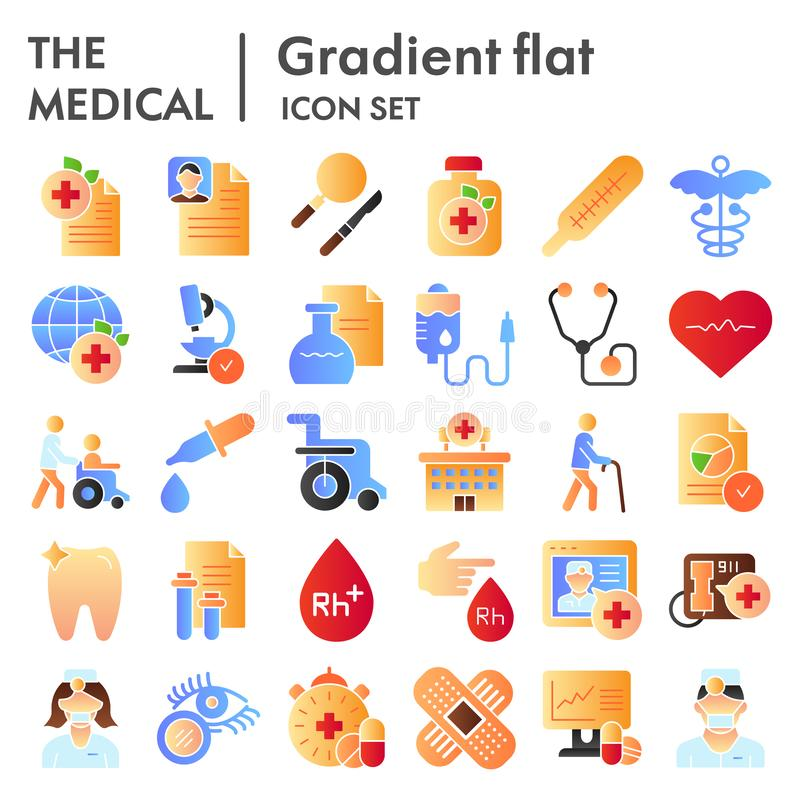 Medical flat icon set, healthcare symbols collection, vector sketches, logo illustrations, pharmacy signs color gradient. Pictograms package isolated on white vector illustration