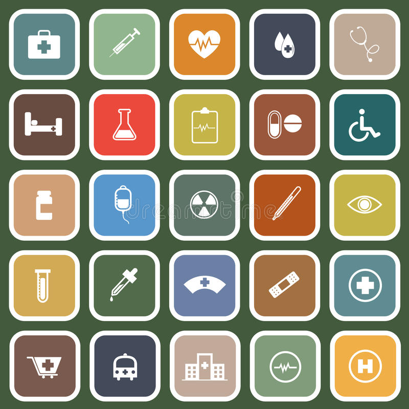 Download Medical Flat Icons On Green Background Stock Vector - Image: 35142396