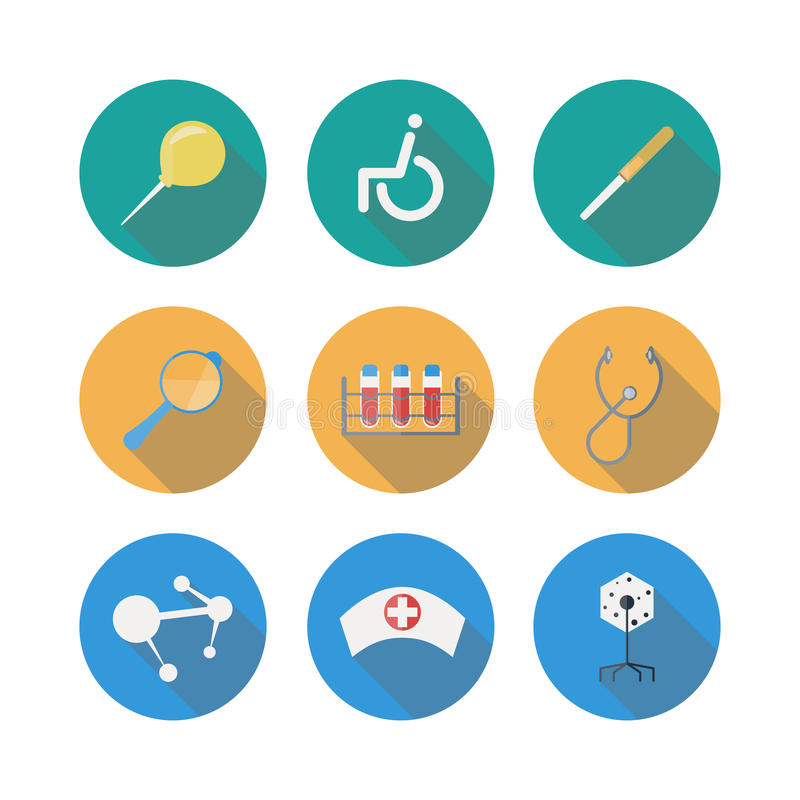 Medical Flat Icons Set With Long Shadow royalty free illustration