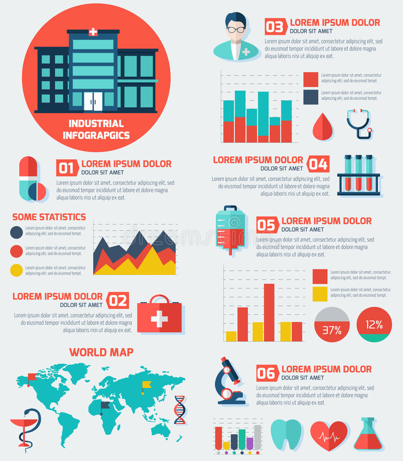 Medical Flat Infographic Background with Hospital. royalty free illustration