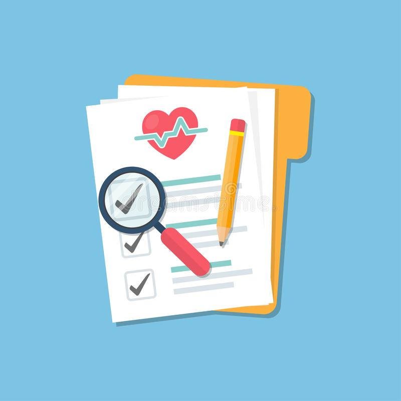 Medical folder with document checklist, magnify glass and pencil in a flat design royalty free illustration