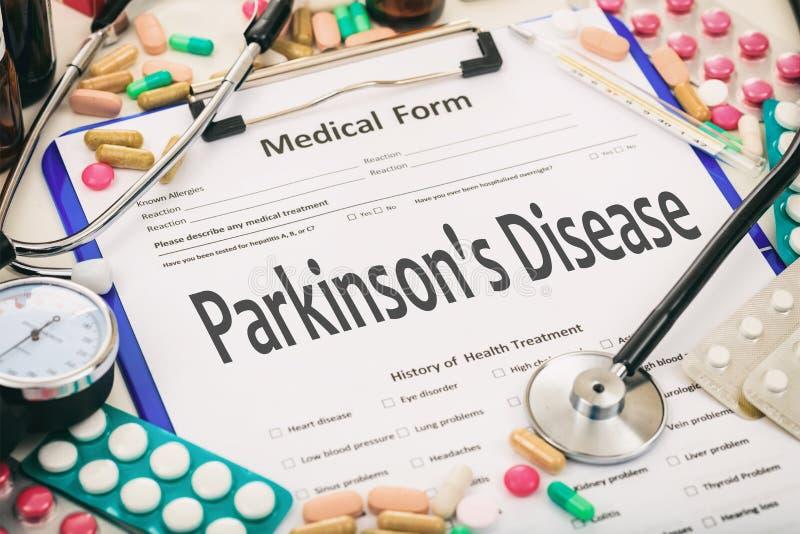 Medical form, diagnosis parkinson`s disease. Medical form on a table, diagnosis parkinson`s disease stock photo