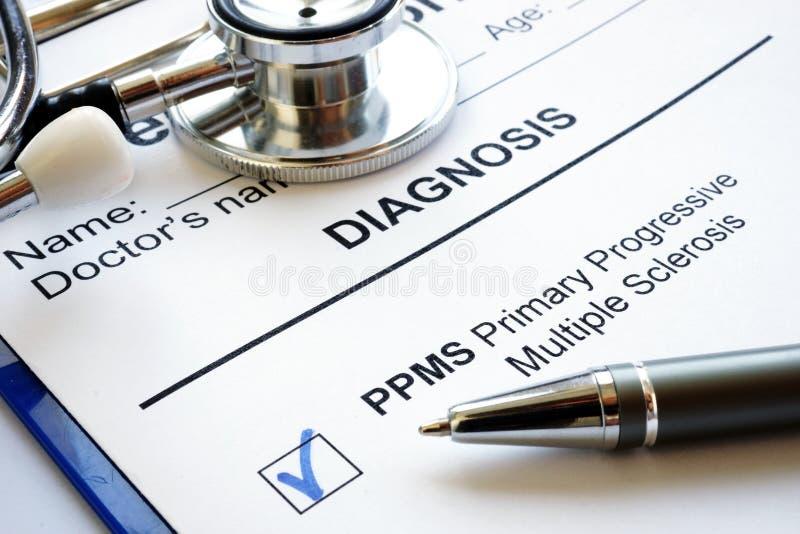 Diagnosis Primary progressive Multiple sclerosis PPMS. Medical form and diagnosis Primary progressive Multiple sclerosis PPMS stock photography