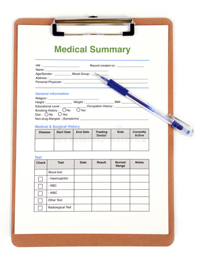 Medical Form Stock Image Image Of Report Paper List