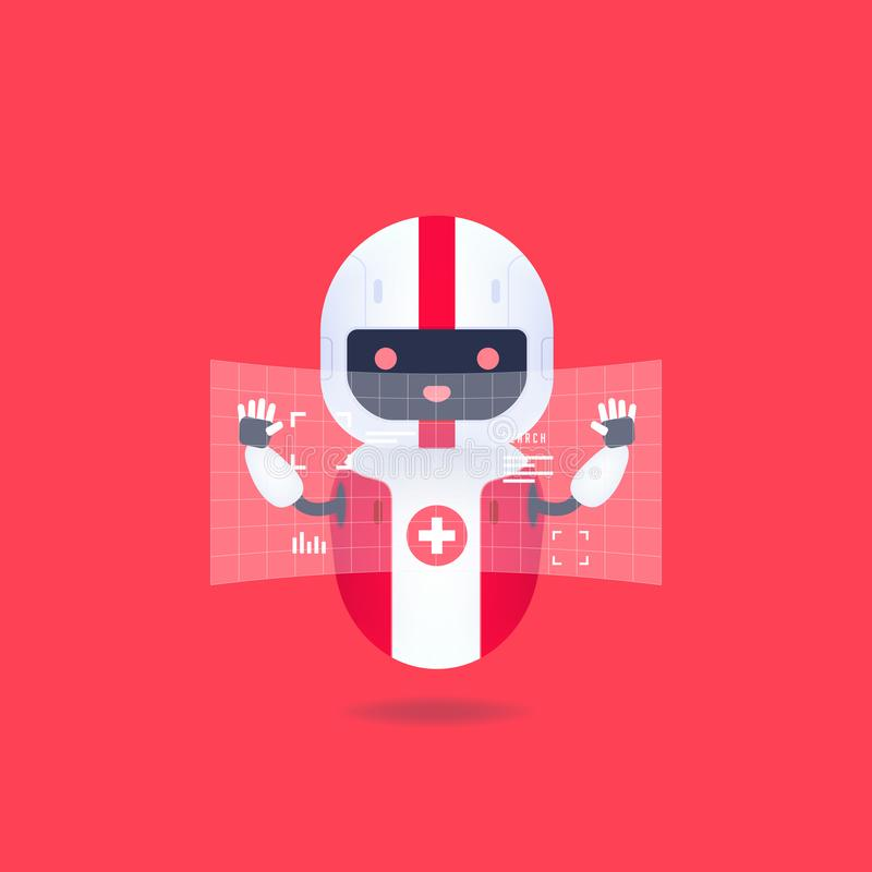 Medical friendly android robot with HUD interface screen. Cute and smile AI robot. Vector stock illustration
