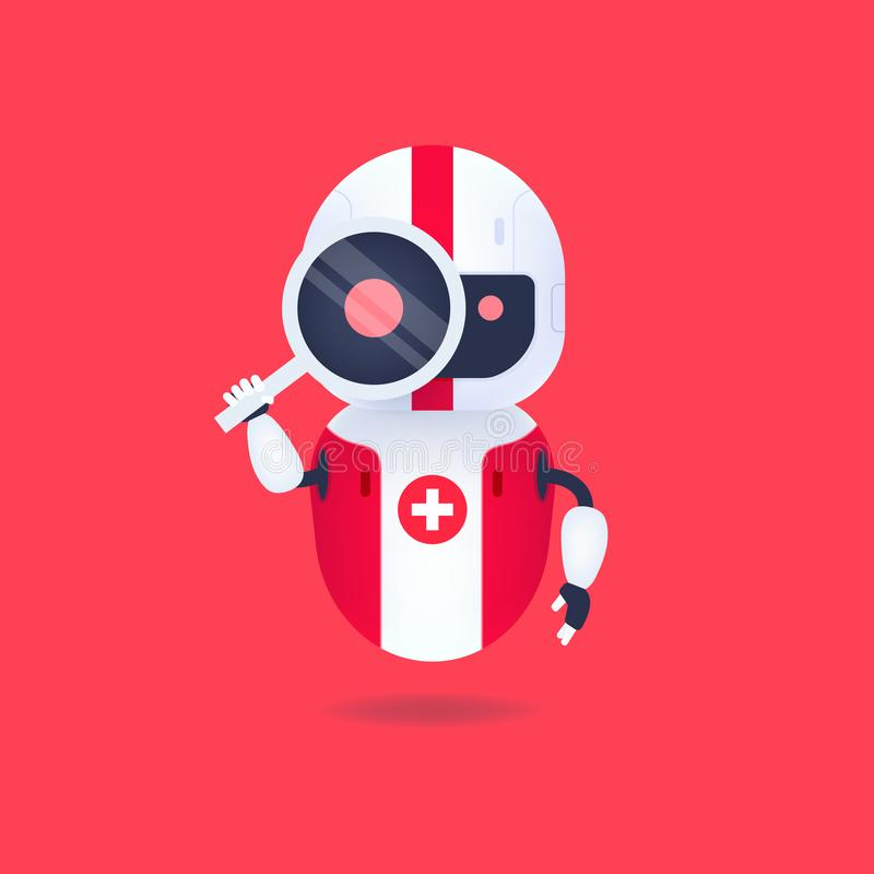 Medical friendly android robot looking through the magnifying glass. Search conceptual. Vector royalty free illustration