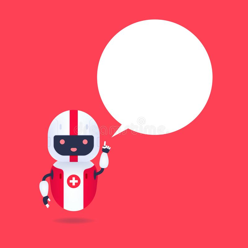 Medical friendly android robot with speech bubble. Cute and smile AI robot. Medical friendly android robot with speech bubble. Cute and smile AI robot, vector stock illustration