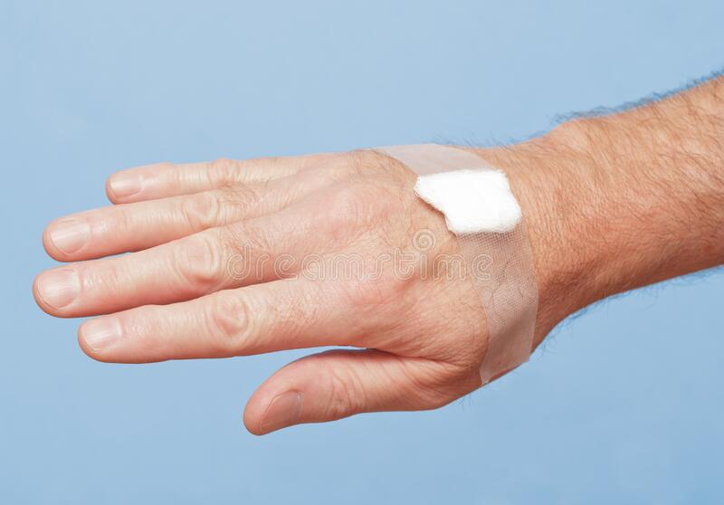 Medical Gauze On Hand stock photos