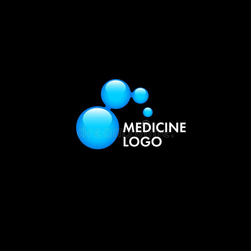 Medical, genetic, chemical logo. Blue glossy molecule, isolated. royalty free illustration