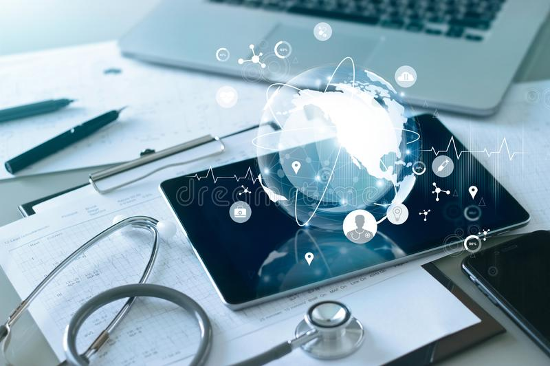 Medical global networking and healthcare global network connection on tablet, Medical technology. Concept royalty free stock images