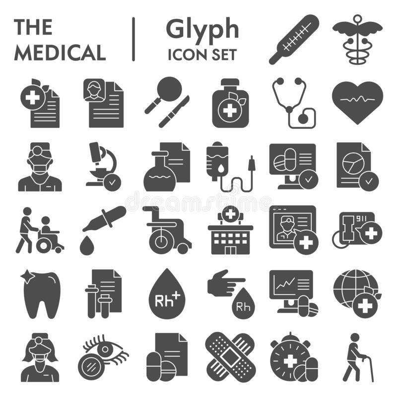 Medical glyph icon set, healthcare symbols collection, vector sketches, logo illustrations, pharmacy signs solid. Pictograms package isolated on white stock illustration