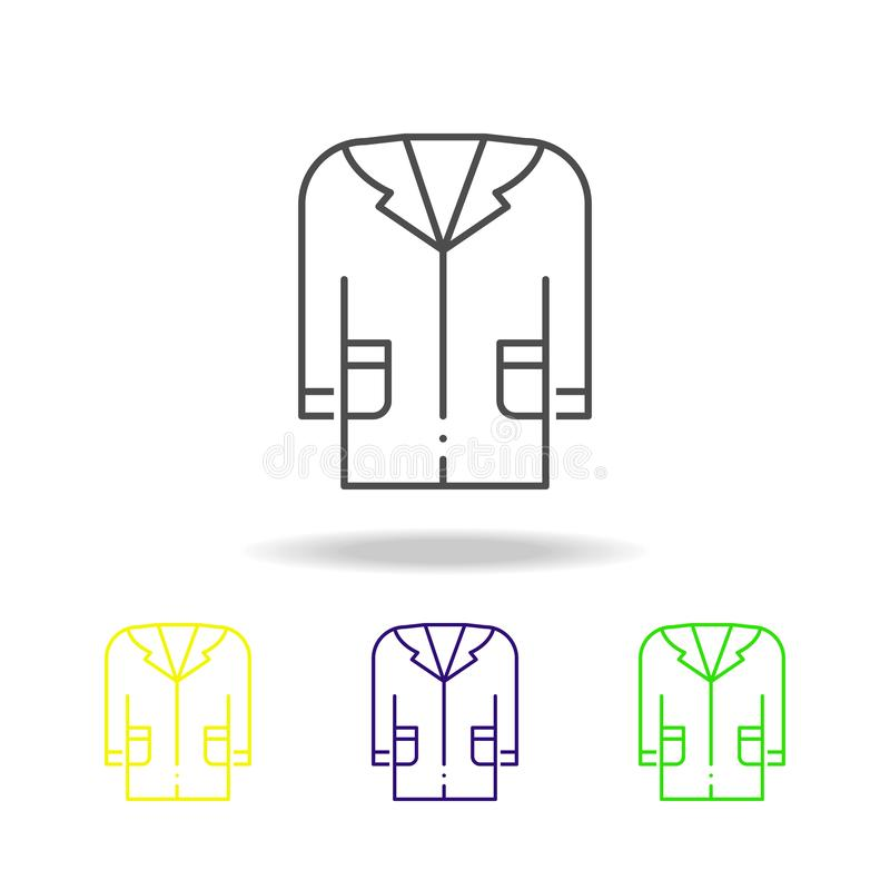 medical gown colored icons. Element of science illustration. Thin line illustration for website design and development, app stock illustration