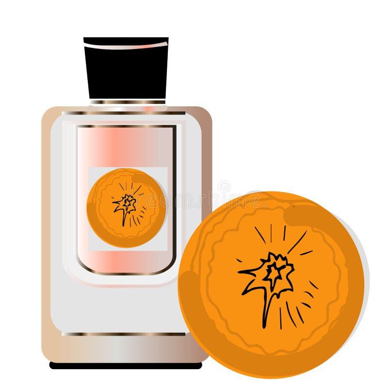 Medical grade hand wash ads, flowing clear liquid splashing around the dispenser bottle, orange perfume vector illustration