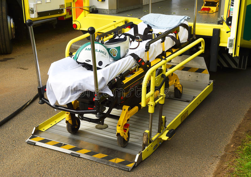 Medical gurney stretcher at a road traffic incident. stock photos
