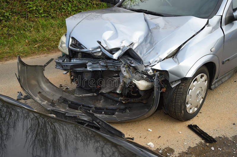 Car damage at road traffic incident. stock images