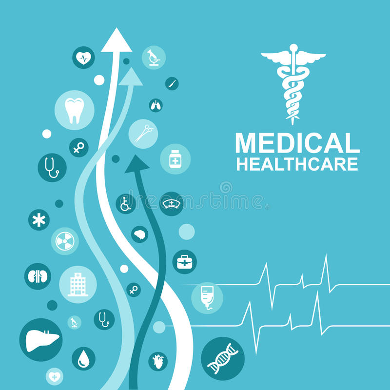 Medical health care - arrow and pulse wave and icon About Doctors stock illustration