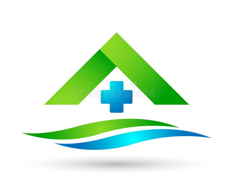 Medical health care clinic cross people home house healthy life care logo design icon on white background. Globe medical health care home house cross people royalty free illustration