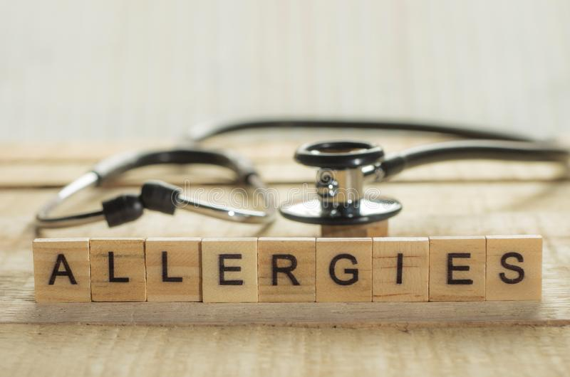 Medical and Health Care Concept, Allergies. Medical and health care words writing typography lettering concept, Allergies stock image